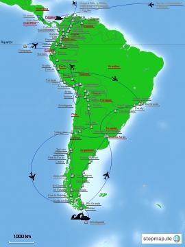 Karte 20 Monate Zentral- und Suedamerika